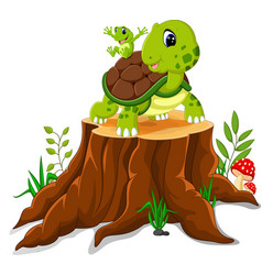 Cartoon turtle and frog posing on tree stump vector