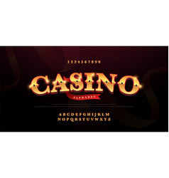 casino luxury 3d alphabet gold logotype vector image