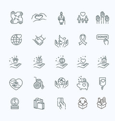 Charity - modern line design icons vector