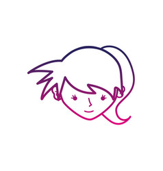 color line avatar girl head with tail hair vector image