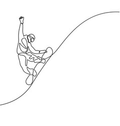 continuous line drawing snowboarder jumps vector image