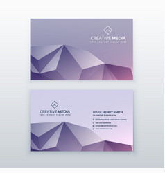 creative low poly business card design vector image