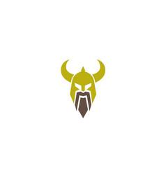 creative spartan viking helmet logo vector image