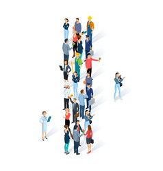Crowded isometric people alphabet vector