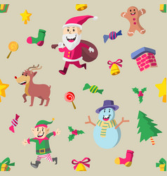 cute christmas character seamless pattern vector image