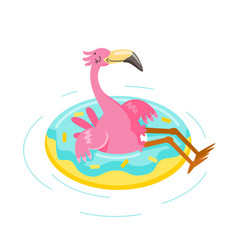 cute pink flamingo float inflatable ring isolated vector image