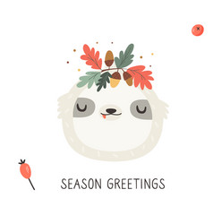 Cute sloth in autumn wreath on white background vector