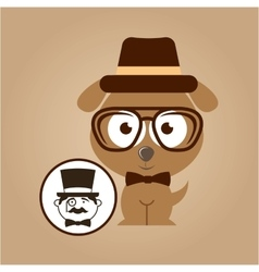 doggy hipster concept man hipster vector image