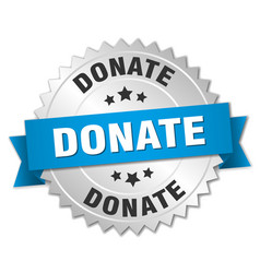 Donate 3d silver badge with blue ribbon vector