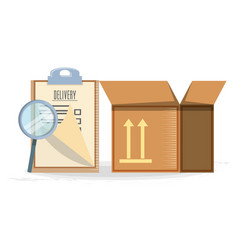 Fast delivery with box travel ilustration vector