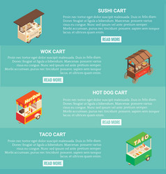 fast food cart horizontal banner set vector image