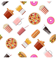 fast food set seamless pattern vector image