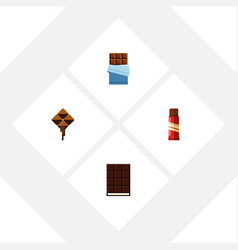 flat icon cacao set of sweet dessert delicious vector image