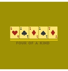 Flat icon on stylish background poker four of a vector