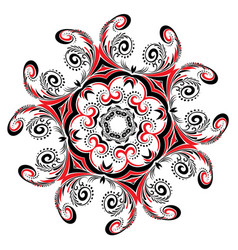 floral black and red round ornament vector image
