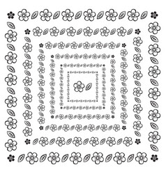 flower brush pattern in a square line black shape vector image