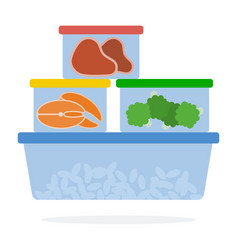 Food in plastic containers for refrigerated vector