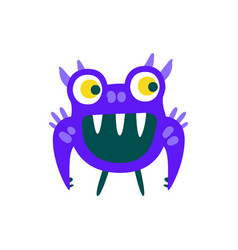 funny blue toothy cartoon monster fabulous vector image