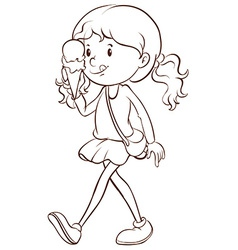 Girl and icecream vector image