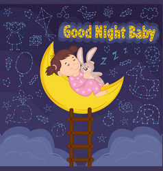 girl sleeps on moon vector image