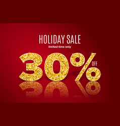golden holiday sale 30 percent off vector image