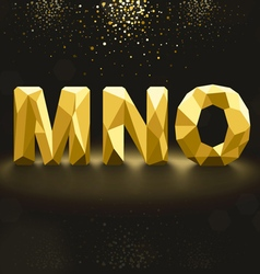 Golden lowpoly font from m to o vector