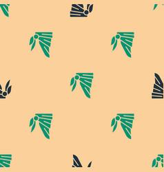 Green and black bandana or biker scarf icon vector