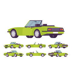 Green cabriolet cat set vector