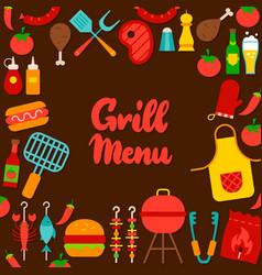 grill menu lettering postcard vector image
