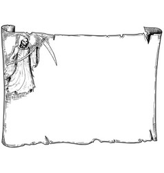 Halloween frame old scroll sheet with grim reaper vector