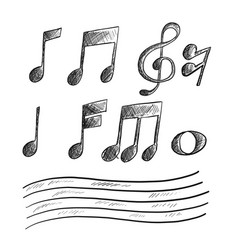 hand drawn sketch of music note vector image