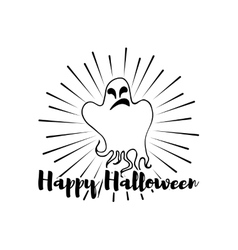 Happy Halloween Ghost Label vector image