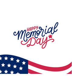 Happy memorial day handwritten phrase in vector