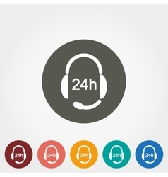 Headphones with Microphone Support 24 hours vector