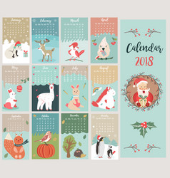 holiday calendar with cute and funny characters vector image