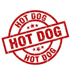 Hot dog round red grunge stamp vector