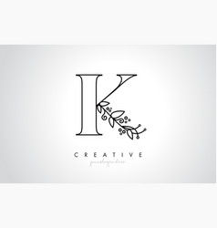 k letter logo with organic monogram plant leafs vector image