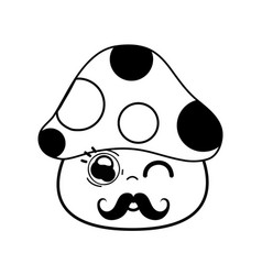 Kawaii cute funny fungus with mustache vector