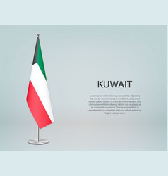 Kuwait hanging flag on stand template vector