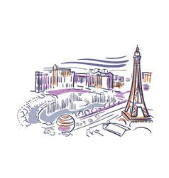 Las vegas nevada usa america sketch city line art vector