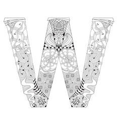 letter w for coloring decorative zentangle vector image