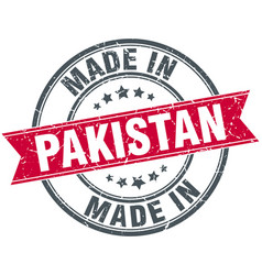 Made in pakistan red round vintage stamp vector