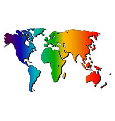 map of the world rainbow silhouette vector image