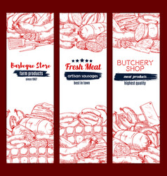 meat and sausage sketch banner set for food design vector image