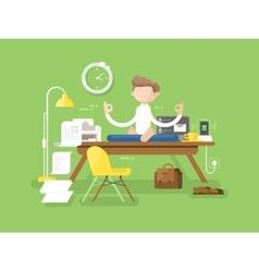 Meditation businessman in office vector