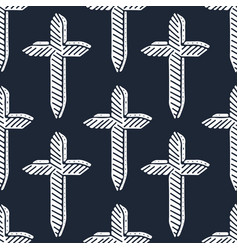 minimalistic seamless pattern white crosses on vector image