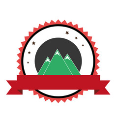 mountains emblem with ribbon icon vector image