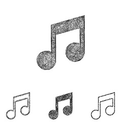 Music note icon set - sketch line art vector