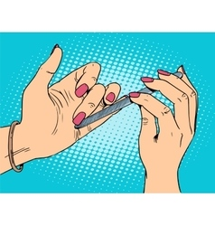 Nail care beauty woman vector