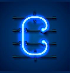 Neon font letter c art design signboard vector